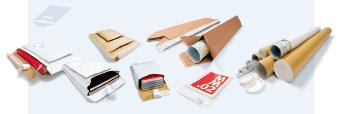 Versandtaschen, Medienverpackungen, Rohre und mehr